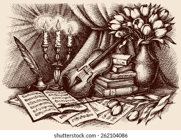 Romantic vintage picture of viola, fiddlestick, inkpot, pen, pages with notes, tulips in bowl and burning golden candelabra. Freehand ink outline drawn background sketch in antiquity engraving style