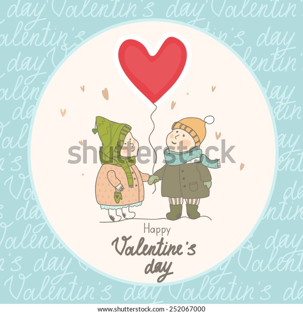Romantic Vintage Valentines Day Card Stock Vector (Royalty