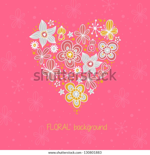 Romantic Wallpaper Flowers Floral Heart Shape Stock Vector