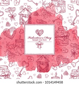 Romantic watercolor background for Valentine's day. Vector hand drawn illustration.