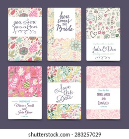 Romantic wedding collection with 6 awesome cards made of hearts, flowers, wreaths, laurel, butterflies, sweet-stuff and birds. Graphic set in retro style. Sweet save the date invitation cards
