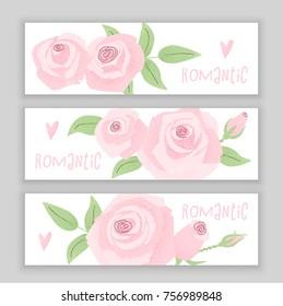 Romantic wedding concept with rose, vintage vector design