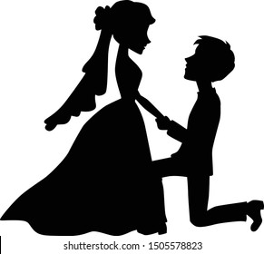 Romantic Wedding Couple Silhouette Vector Graphic