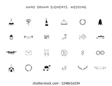 Romantic and wedding feminine clipart. Big set of vector hand drawn logo elements. For business branding and identity, greeting cards, overlays. Black on white isolated symbols.