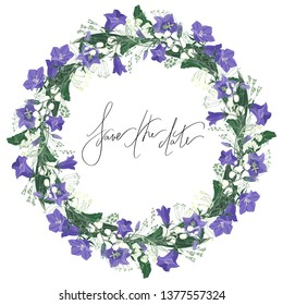 romantic wedding floral frame with lilly of the valley bluebells and lettering save the date vector isolated