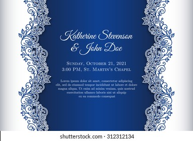 Royal Blue Wedding Card Stock Illustrations Images