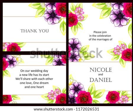 Romantic Wedding Invitation Card Suite Wedding Stock Vector Royalty
