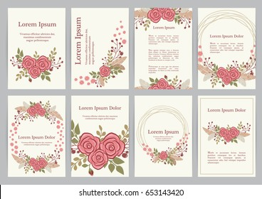 Romantic wedding invitation set with floral wreath. A4 vector templates