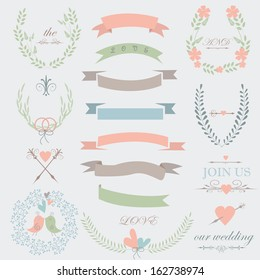 Romantic wedding set with tender flowers, laurels, ribbons, hearts, birds, arrows and calligraphic elements.