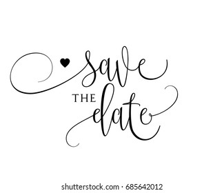 Romantic wedding word art sign vector for save the date