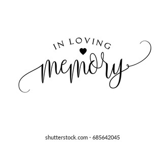 Romantic wedding word art sign vector for in loving memory