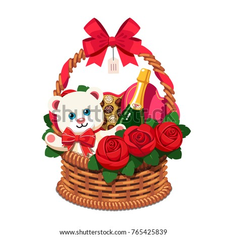 Romantic Wicker Present Basket Full Gifts Stock Vektorgrafik