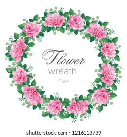 Romantic  wreath of flowers, round frame with pink peonies. Can be used as invitation for wedding, birthday, thank you card, Valentine's Day, other holiday and spring background. Vector illustration.