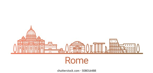 Rome city colored gradient line. All Rome buildings - customizable objects with opacity mask, so you can simple change composition and background fill. Line art.