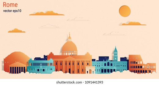 Rome city colorful paper cut style, vector stock illustration. Cityscape with all famous buildings. Skyline Rome city composition for design
