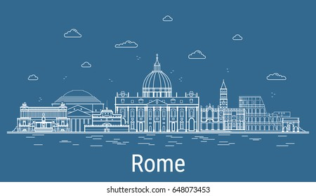 Rome city, Line Art Vector illustration with all famous buildings. Linear Banner with Showplace, Skyscrapers and hotels. Composition of Modern buildings, Cityscape. Rome buildings set