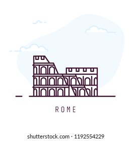 Rome city line style illustration. Colosseum famous landmark in Rome. Architecture city symbol of Italy. Outline building vector illustration. Sky with clouds on background. Travel and tourism banner.