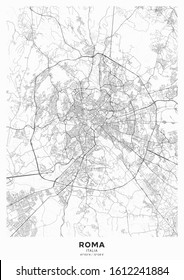 Rome city map poster. Detailed map of Rome (Italy). Transport system of the city. Includes properly grouped map features (water objects, railroads, roads etc).