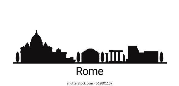 Rome city outline skyline. All Rome buildings - customizable objects, so you can simple change skyline composition. Minimal design.