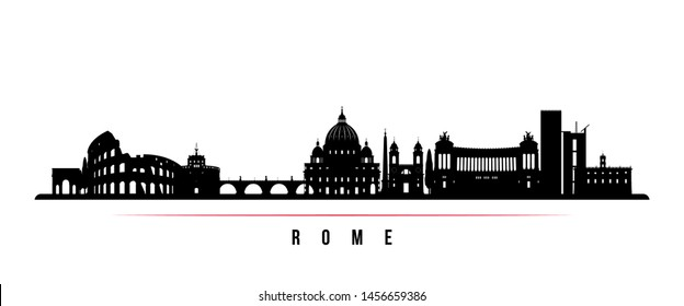 Rome city skyline horizontal banner. Black and white silhouette of Rome city, Italy. Vector template for your design.