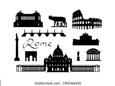Rome city travel landmark set. Italian famous places silhouette icons. Architecture, building, arch, monument, brindge, sculpture main sightseeing tourist signs