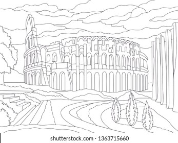 Rome coloring book isolated on white background. Vector  illustration with landscape coliseum and park
