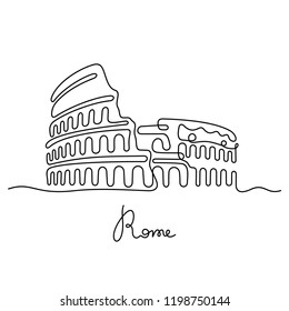 Rome continuous line drawing