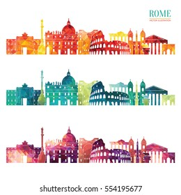 Rome detailed skyline. Travel and tourism background. Vector illustration