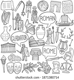 Rome doodle icon set. Roman Vector illustration collection. Ancient Culture Banner Hand drawn Line art style.