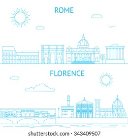 Rome and Florence vector line illustrations. Rome and Florence skyline.