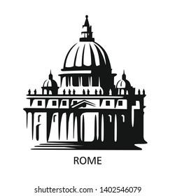 Rome icon. Saint Peters Basilica at Vatican