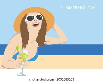 Rome, Italy - august 27 2021 girl with a cocktail by the seaside, vectorial illustration