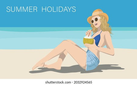 Rome, Italy - august 29 2021 girl on beach with a cocktail by the seaside, vectorial illustration