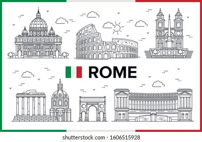 Rome, Italy. Coliseum, St. Peters Dome, Spanish Steps, Piazza Venezia, buildings and city sights. Vector illustration