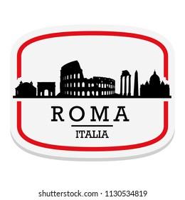Rome Italy Label Stamp Icon Skyline City Design Tourism