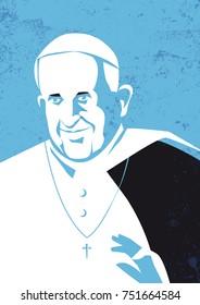 Rome, Italy, November 9, 2017 - Pope Francis, Pope of the Roman Catholic Church, vector illustration