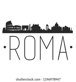 Rome Italy Skyline Silhouette City Design Vector Famous Monuments