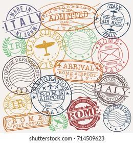 Rome Italy Stamp Vector Art Symbol Design
