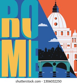 Rome, Italy vector banner, illustration. City skyline, St Pete in modern flat design style. Italian ancient landmarks in travel to Rome concept image