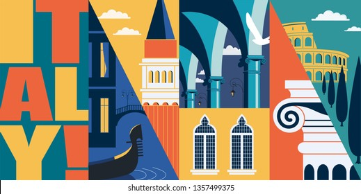 Rome, Italy vector banner, illustration. Cityscape, landmarks in modern flat design style. Italian architecture, Venice, colonnade