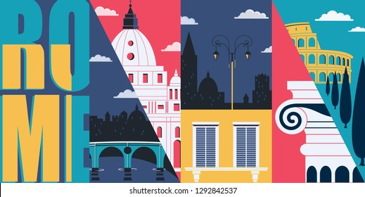 Rome, Italy vector skyline illustration, postcard. Travel to Rome modern flat graphic design element with Italian landmarks - Colosseum, cathedral, city views
