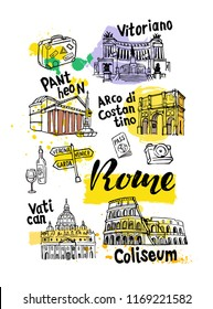 Rome Landmark Vector Sketch Set. Famous historical landmark