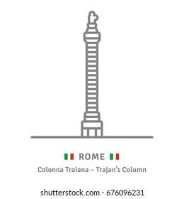 Rome line icon. Trajans Column and Italian flag vector illustration.