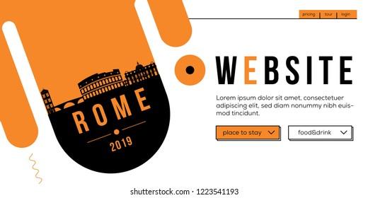 Rome Modern Web Banner Design with Vector Linear Skyline