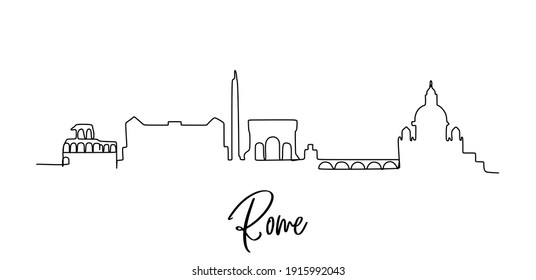 Rome skyline - Continuous one line drawing