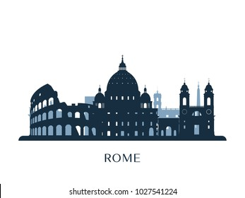 Rome skyline, monochrome silhouette. Vector illustration.