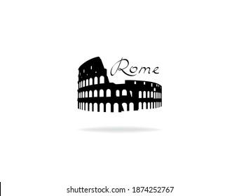 Rome travel landark Coliseum. Italian famous place Coliseum silhouette icon with handwritten Lettering Rome.