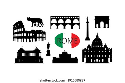 Rome travel landmark set. Italian famous places silhouette icons. Architecture, building, arch, monument, brindge, sculpture main sightseeing tourist signs