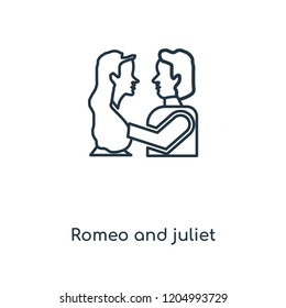Romeo and juliet concept line icon. Linear Romeo and juliet concept outline symbol design. This simple element illustration can be used for web and mobile UI/UX.