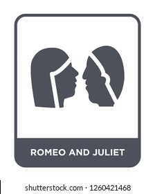 romeo and juliet icon vector on white background, romeo and juliet trendy filled icons from Education collection, romeo and juliet simple element illustration